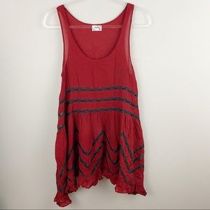 Free People • Red Voile Lace Slip Dress